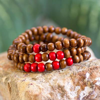 Men's wood beaded bracelets, 'Red on Brown Spirituality' (set of 3) - Men's Handcrafted Wood Bead Stretch Bracelets (Set of 3)