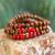 Men's wood beaded bracelets, 'Red on Brown Spirituality' (set of 3) - Men's Handcrafted Wood Bead Stretch Bracelets (Set of 3) (image p214701) thumbail