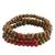 Men's wood beaded bracelets, 'Red on Brown Spirituality' (set of 3) - Men's Handcrafted Wood Bead Stretch Bracelets (Set of 3) thumbail