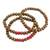 Men's wood beaded bracelets, 'Red on Brown Spirituality' (set of 3) - Men's Handcrafted Wood Bead Stretch Bracelets (Set of 3) (image 2b) thumbail