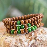 Men's wood beaded bracelets, 'Green on Brown Spirituality' (set of 3)