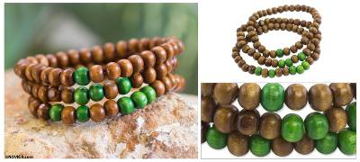 Men's wood beaded bracelets, 'Green on Brown Spirituality' (set of 3) - Men's Handcrafted Wood Bead Stretch Bracelets (Set of 3)