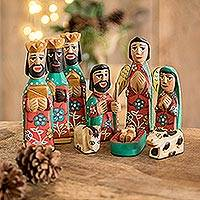 Wood nativity scene, 'Peace' (10 pieces)