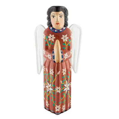 Wood sculpture, 'Chichicastenango Guardian Angel' - Hand Crafted Wood Religious Sculpture from Guatemala