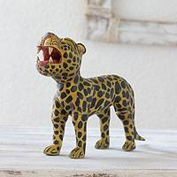 Wood figurine, 'Jaguar Divinity' - Handcrafted Wood Jaguar Figurine