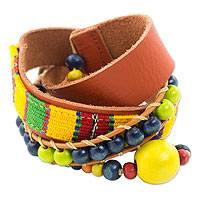 Leather and cotton wrap bracelet, 'Kinich Kakmo' - Handmade Leather and Cotton Wrap Bracelet