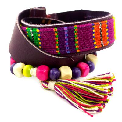 Leather and cotton wristband bracelet, 'Carnaval in Atitlan' - Purple Leather Bracelet with Maya Handwoven Cotton