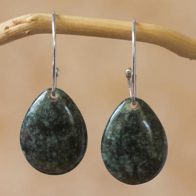 Jade dangle earrings, 'Maya Treasure' - Artisan Crafted Jade and Sterling Silver Earrings