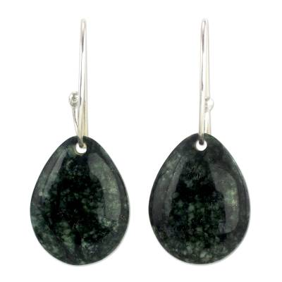 Jade dangle earrings, 'Maya Treasure' - Artisan Crafted Jade and Sterling Silver Earrings