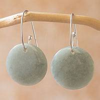 Jade dangle earrings, 'Maya Moonlight' - Artisan Crafted Jade and Sterling Silver Earrings
