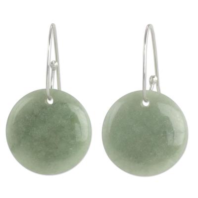 Jade dangle earrings, 'Maya Moonlight' - Artisan Crafted Jade and Sterling Silver Earrings
