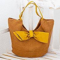 Leather accent cotton hobo bag, 'Chic Yellow Bow' - Brown Leather Accent Handbag with Yellow Trim