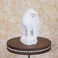 Marble sculpture, 'Proud Eagle' - Nicaraguan Bird Theme Marble Eagle Sculpture