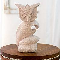 Marble sculpture, 'Hoot Owl' - Nicaraguan Bird Theme Stone Sculpture