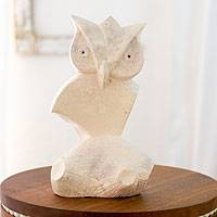 Marble sculpture, 'Abstract Owl' - Hand Carved Stone Owl Sculpture
