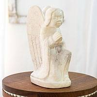 Marble sculpture, 'Angel in Prayer' - Central American Marble Angel Sculpture