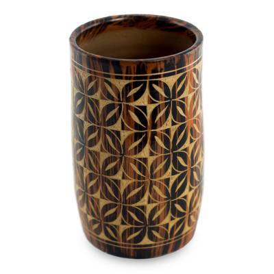 Ceramic decorative vase, 'Floral Maze' - Handcrafted Ceramic Vase