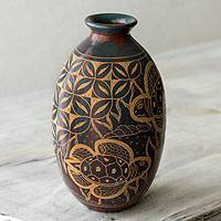 Ceramic decorative vase, 'Turtle Coast' - Handmade Tropical Terracotta Vase
