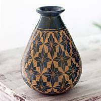 Ceramic decorative vase, 'Star of Managua' - Teardrop Ceramic Vase