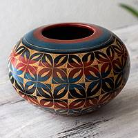 Ceramic decorative vase, 'Wildflowers' - Round Floral Ceramic Vase from Nicaragua