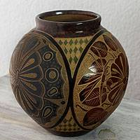 Ceramic decorative vase, 'Island Life' - Multicolor Handcrafted Terracotta Vase from Nicaragua