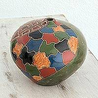 Ceramic decorative vase, 'Granada' - Multicolor Handmade Ceramic Vase from Nicaragua
