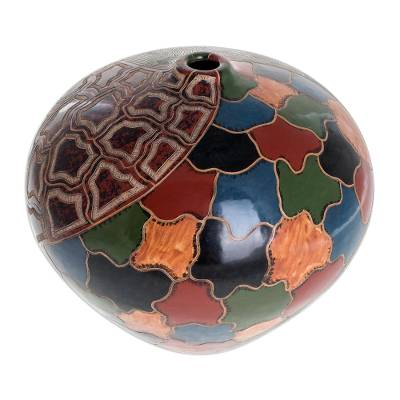 Ceramic decorative vase, 'Granada' - Multicolor Handmade Ceramic Vase from Nicaragua