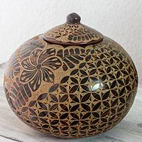 Ceramic decorative jar, 'Plumeria' - Hand Made Floral Theme Terracotta Jar