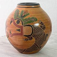 Ceramic decorative vase, 'Plumed Serpent' - Quetzalcoatl Terracotta Vase Handcrafted in Nicaragua