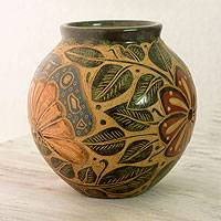 Ceramic decorative vase, 'Masaya' - Engraved Multicolor Terracotta Vase from Central America