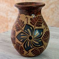 Ceramic decorative vase, 'Oleander' - Nicaraguan Hand Made Floral Theme Terracotta Vase