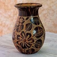 Ceramic decorative vase, 'Flower of My Land' - Plumeria Flower Terracotta Vase from Nicaragua