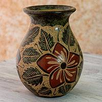 Ceramic decorative vase, 'Maypole Dance' - Hand Engraved Floral Vase from Central America