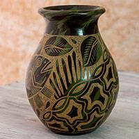 Ceramic decorative vase, 'Caribbean Islands' - Green Ceramic Handmade Vase from Nicaragua
