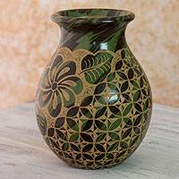 Ceramic decorative vase, 'Miraflor' - Green and Brown Handmade Floral Vase from Nicaragua