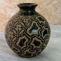 Ceramic decorative vase, 'Pacific Island' - Green Ceramic Handmade Decorative Vase