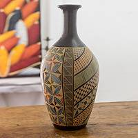 Ceramic decorative vase, 'Nature's Paradise' - Multicolor Handcrafted Nicaraguan Ceramic Decorative Vase