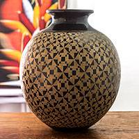 Ceramic decorative vase, 'Chorotega Lord' - Handmade Nicaraguan Ceramic Decorative Vase