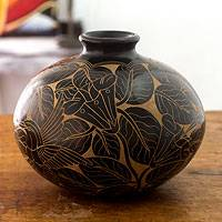 Ceramic decorative vase, 'Hummingbird Garden' - Modern Terracotta Vase from Central America