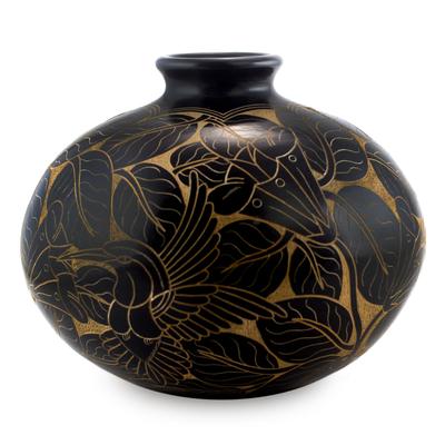 Unicef Market Terracotta Hand Crafted Hummingbird Vase