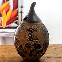 Ceramic decorative vessel, 'Planting and Harvest' - Central American Gourd Shaped Archaeological Replica Vase