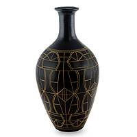 Ceramic decorative vase, 'Windows on the Past' - Hand Made Nicaraguan Ceramic Decorative Vase