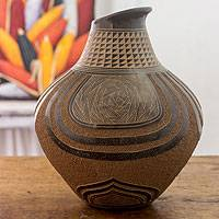 Ceramic decorative vase, 'Ancient Cacique' - Asymmetrical Decorative Terracotta Vase from Nicaragua