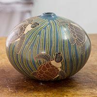 Ceramic decorative vase, 'Turtle Haven' - Modern Terracotta Sea Turtle Vase Handcrafted in Nicaragua