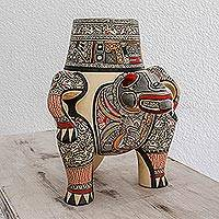 Ceramic decorative vessel, 'Ancestral Serpent' - Archaeological Replica Handcrafted Ceramic Vessel