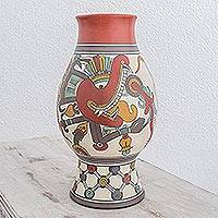 Ceramic decorative vase, 'Maya Feathered Serpent' - Hand-painted Maya Replica Vase from Nicaragua