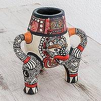 Ceramic decorative vase, 'Little Jaguar' - Archaeological Replica Handcrafted Ceramic Vessel