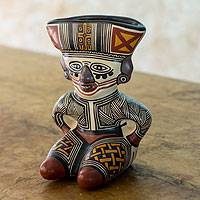 Ceramic vessel, 'Chorotega Man' - Handcrafted Ceramic Vessel