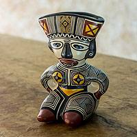 Ceramic vessel, 'Chorotega Woman' - Hand Crafted Ceramic Vessel