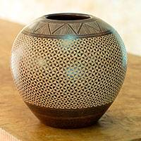 Ceramic decorative vase, 'Matagalpa Coffee' - Nicaraguan Natural Brown Ceramic Vase